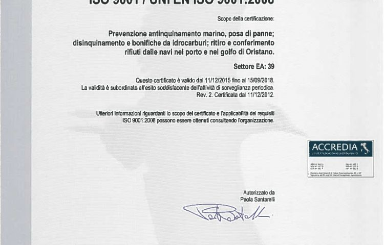ISO 9001 Certificato IT121079